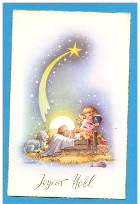 Joyeux Noël  Naissance De Jésus   Ange Portant Un Pot   Carte Dessinée - Weihnachten