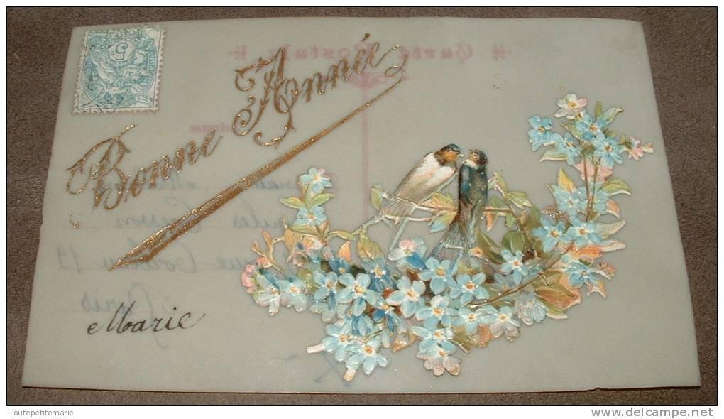 Carte En Celluloide  Chromo Oiseaux Sur Un Bleuet Bonne Année - Autres