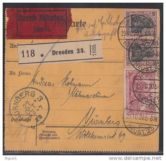 DR Paketkarte Eilbote Mif Minr.2x 91II, 115 Dresden 25.10.20 - Deutschland
