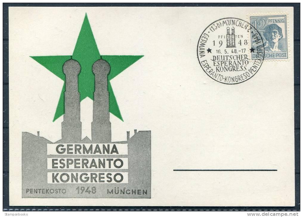 1948 Germany Munich Esperanto Congress Postcard - Esperanto