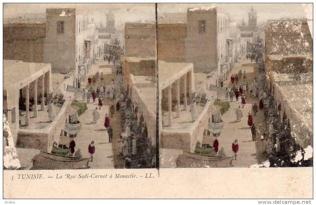 CPA STEREO..TUNISIE...LA RUE SADI CARNOT A MONASTIR...PRIX: 1,49 € - Tunisie