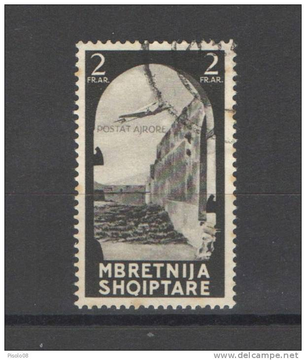 ALBANIA 1940 POSTA AEREA 2 F. USATO - 9. WW II Occupation (Italian)