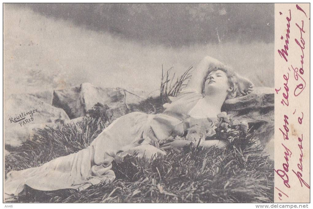 DONNA SDRAIATA SULL'  ERBA SERIE N. 1504  VG 1902 ILL. REUTLINGER AUTENTICA 100% - Other Illustrators