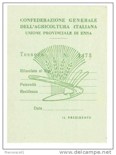 B847 TESSERA CONFEDERAZIONE AGRICOLTURA ENNA - Documenti Storici
