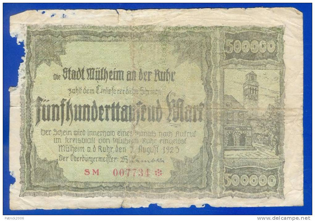 DIE STADT  MÜLHEIM AN DER RUHR_ 500 000 Mark _  1923 - Allemagne