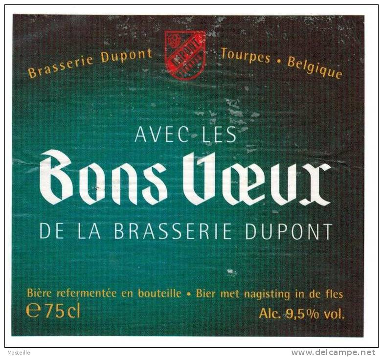 Etiquette Bière 'Bons Voeux' 75 Cl Brasserie Dupont Tourpes Etiket Ale Label - Bière