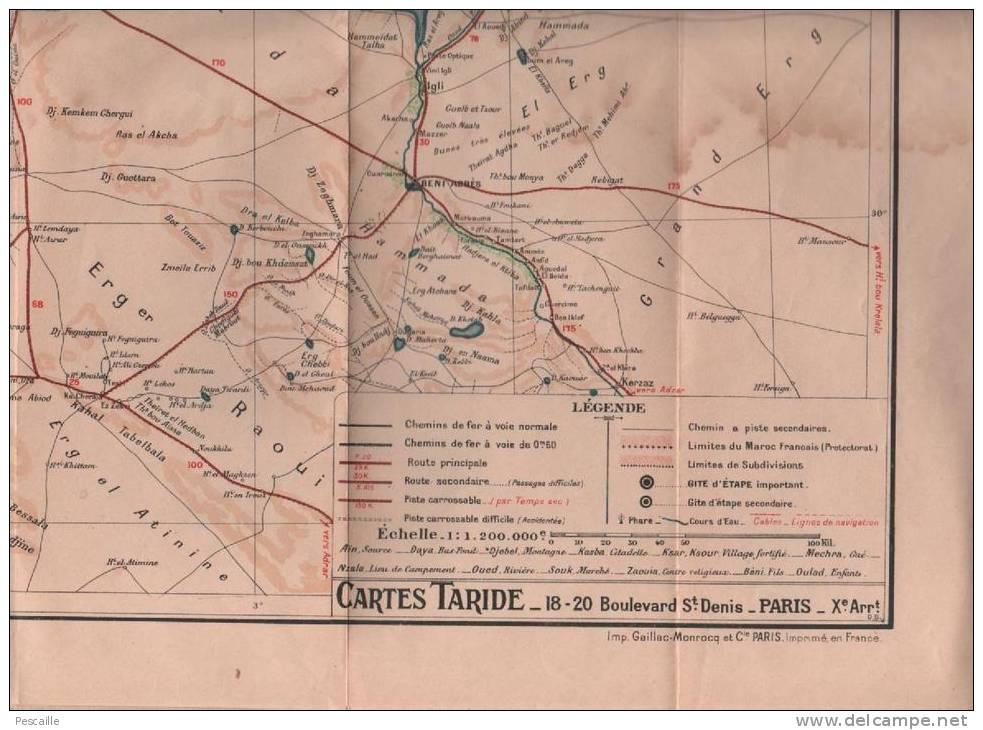1946 - CARTE TARIDE TOUT LE MAROC EN 1 FEUILLE - ITINERAIRES ROUTIERS - PLANS FES CASABLANCA TANGER MARRAKECH - Carte Geographique