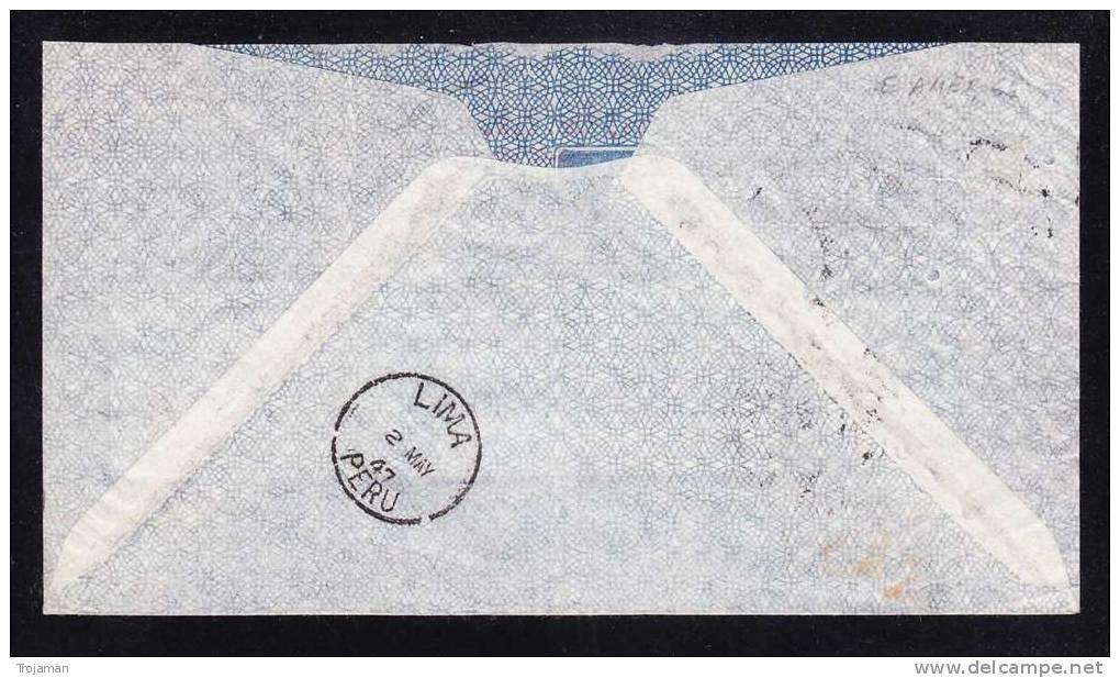 E-AMER-65 LETTER FROM PERU LIMA TO CHECOSLOVAQUIA 02.05.1947 - Peru
