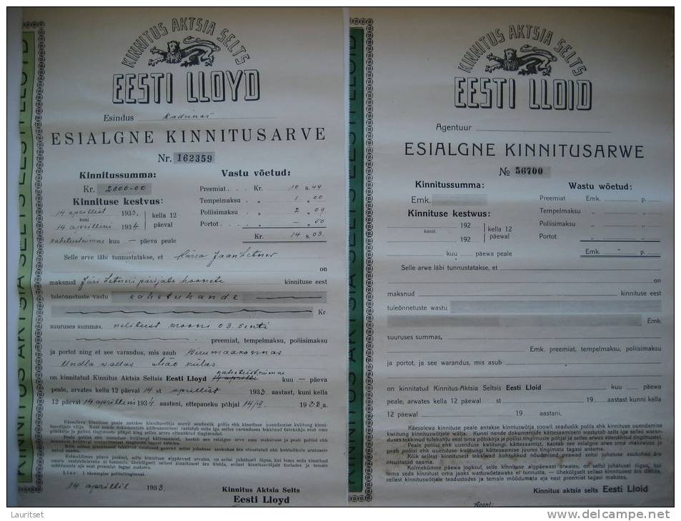 Estland Estonia Estonie Versicherungsdokumente Insurance Documents 1920/1930 Estonian LLOYD - Bank & Insurance