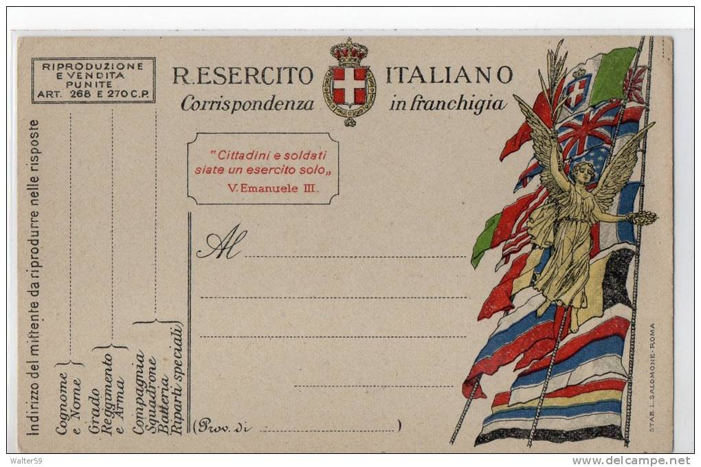 1918 Italia WWI Intero Cartolina Postale Franchigia Ed Salomone Roma Nuova - 1900-44 Vittorio Emanuele III