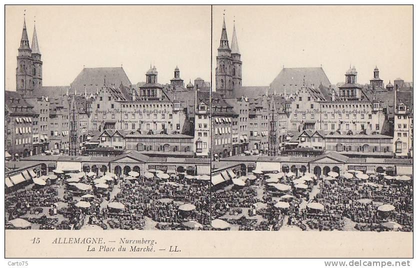 Allemagne - Nuremberg - Place Du Marché - Carte Stereo - Nuernberg