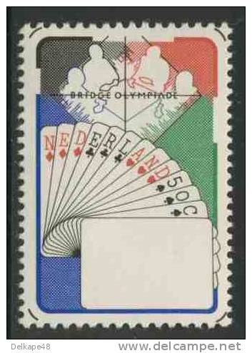 Nederland Netherlands Pays Bas 1980 Mi 1163 ** Bridge Players + Cards – Bridge Olympiad, Valkenburg / Kartenspiel - Giochi