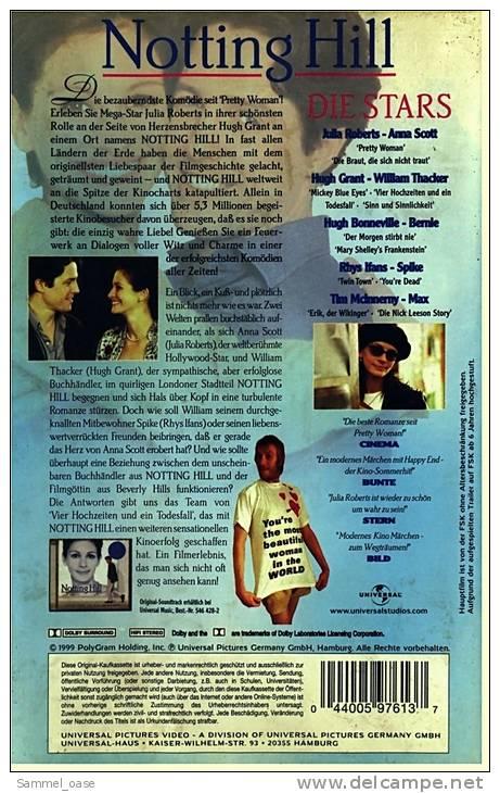 """VHS Video ,  Notting Hill  -  Die Bezaubernste Komödie Seit """"Pretty Woman""""! - Mit Julia Roberts , Hugh Grant - Romantique"""
