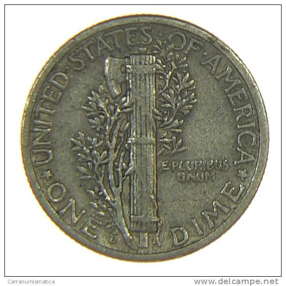 U.S.A. - STATI UNITI D' AMERICA - ONE DIME ( 1943 / D ) MERCURY - AG / SILVER / SILBER - 1916-1945: Mercury (Mercurio)
