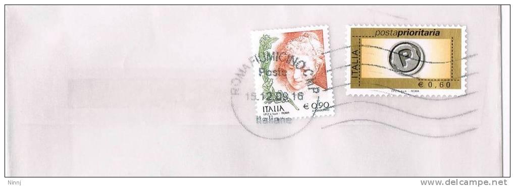 1111- Italia Storia Postale 15.12.08  Lettera Affrancata €. 0,90  La Donna Nell´Arte + €.0,60 P.Prior. - 6. 1946-.. Republic