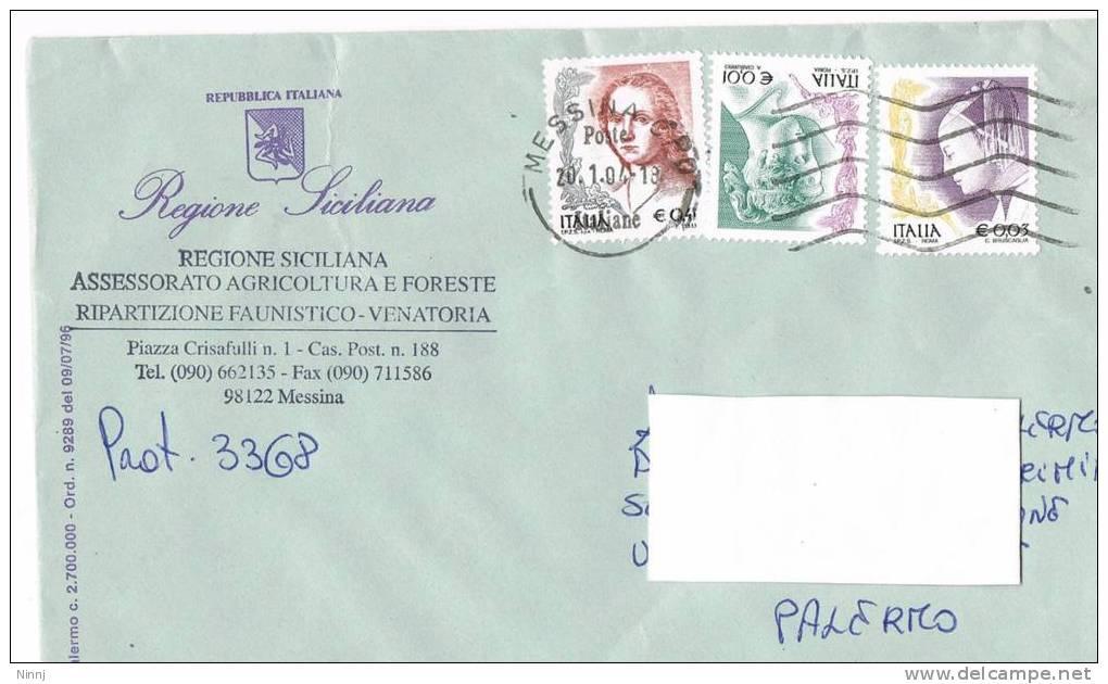 1112- Italia Storia Postale 20.1.04  Lettera Regione Siciliana Affrancata Con Valori  La Donna Nell´Arte - 2001-10: Marcophilia