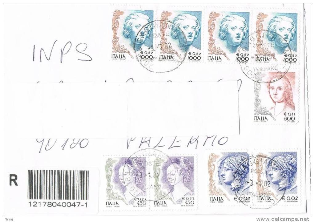 1114- Italia Storia Postale 3.1.02  Racc. Affrancata Con 9 Valori  La Donna Nell´Arte - 2001-10: Marcophilia