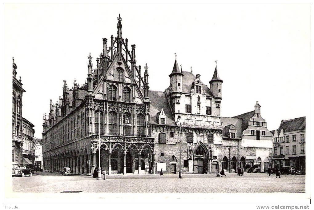 Publicité-Chocolat Martougin-Mechelen (Malines) Stadhuis En Oude Lakenhallen-Hôtel De Ville-Halle Aux Draps-Vintage Cars - Werbepostkarten