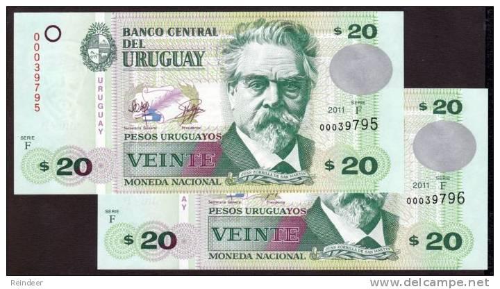 ® URUGUAY: 20 Pesos (serie F, 2011) X2 Billetes Correlativos ***RECIÉN EMITIDO*** - Uruguay