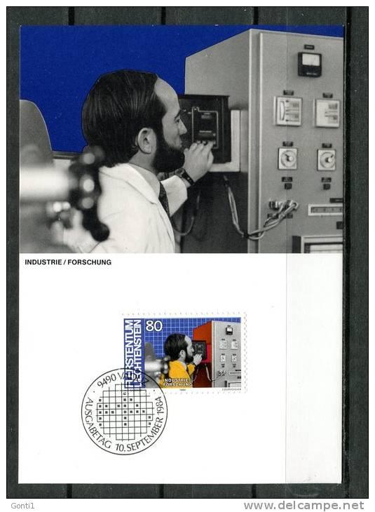 """Liechtenstein 1984 Maxicart  Mi.Nr.857,MK """" Berufe:Industrie,Forschung,Ingeneur,Entwickler,"""" 1 MK Used - Factories & Industries"""