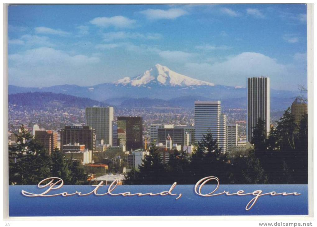 PORTLAND - Oregon, Skyline With Mt. Hood, Volcano, Vulcano, Vulkan - Portland