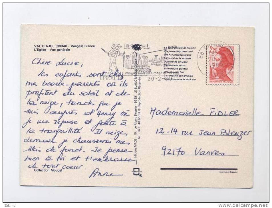88 ---LE VAL D´AJOL --2 VUES EGLISE / GENERALE  --RECTO/ VERSO  ---100.33 - France