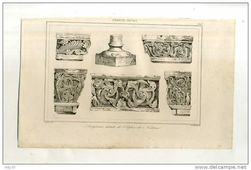 - FRANCE . SCULPTURES (église De Nantua) . GRAVURE SUR ACIER DE LA 1ere 1/2 DU XIXe S. - Esculturas