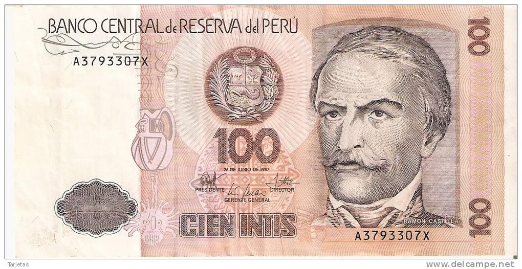 BILLETE DE PERU DE 100 INTIS DEL  AÑO 1987  (BANKNOTE) - Perú