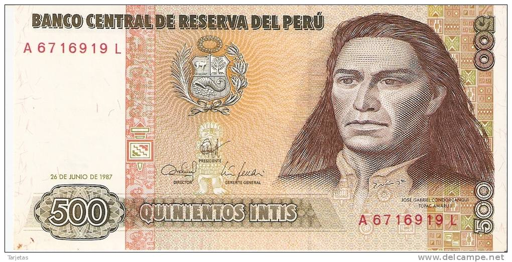 BILLETE DE PERU DE 500 INTIS  (BANKNOTE) SIN CIRCULAR-UNCIRCULATED - Perú