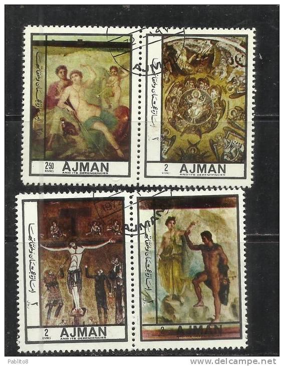 UNITED ARAB EMIRATES AJMAN 1972 ANTIC ART FRESCO PAINTINGS ARTE ANTICA AFFRESCHI USED - Ajman