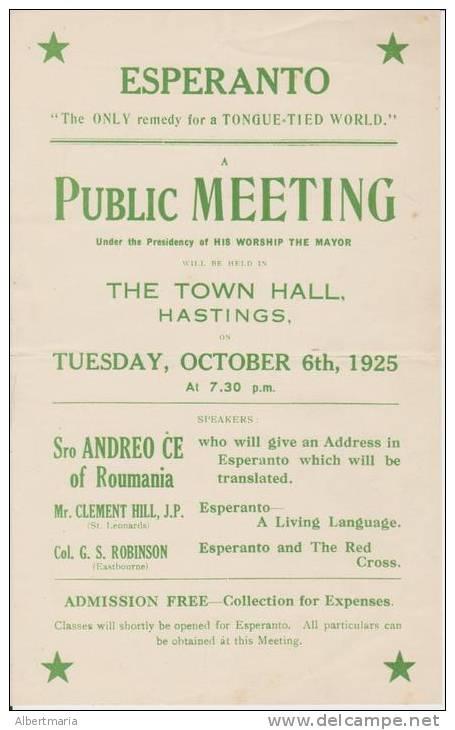 Leaflet About A Lecture By Andreo Cseh In Hastings In October 1925 Afiŝo Pri Prelego De Andreo Cseh En Hastings - Boeken, Tijdschriften, Stripverhalen