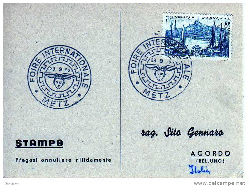 178 FRANCIA - CARTONCINO FDC - 29.09-1958 - METZ - FOIRE INTERNATIONALE - FDC