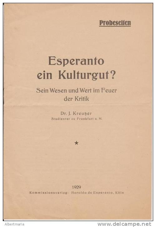 (EB) Esperanto Ein Kulturgut? Sein Wesen Und Wert Im Feuer Der Kritik - Dr. J. Kreusser - Boeken, Tijdschriften, Stripverhalen