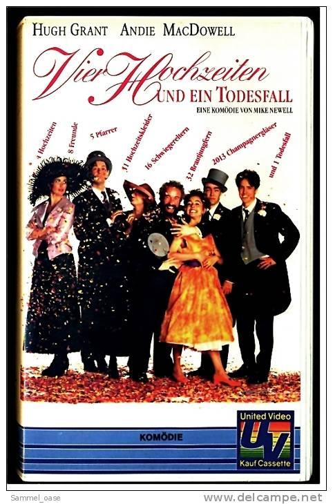 VHS Video Komödie  -  Vier Hochzeiten Und Ein Todesfall   -  Mit  Andie MacDowell, Hugh Grant, Rowan Atkins -  Von 1993 - Autres