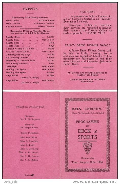 Steam Ship Cunard Line RMS Caronia Deck Sports 1926 Replica - Boats