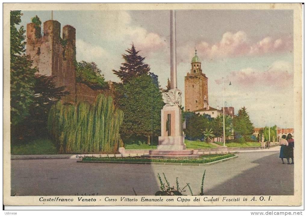 CARTOLINA 1939 - CASTELFRANCO VENETO (TREVISO) - CORSO VITTORIO EMANUELE - Autres Villes