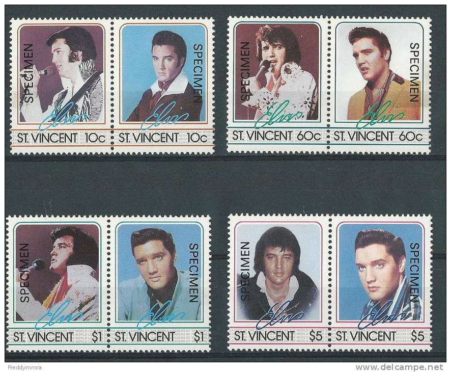 St Vincent: 870/ 877 ** (Elvis Presley)    Avec Surcharge Specimen - Elvis Presley