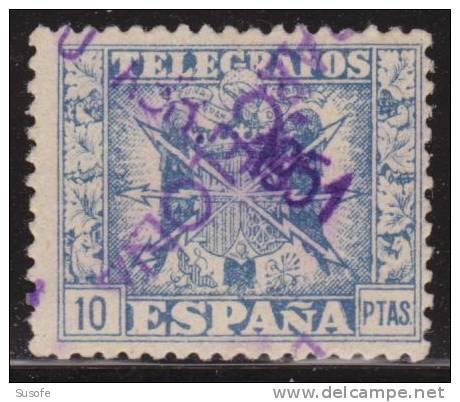 España Telegrafos 1949 Edifil 92 Sello º Escudo De España Nº Control Al Dorso 10p Spain Stamps Timbre Espagne Briefmarke - Servicios