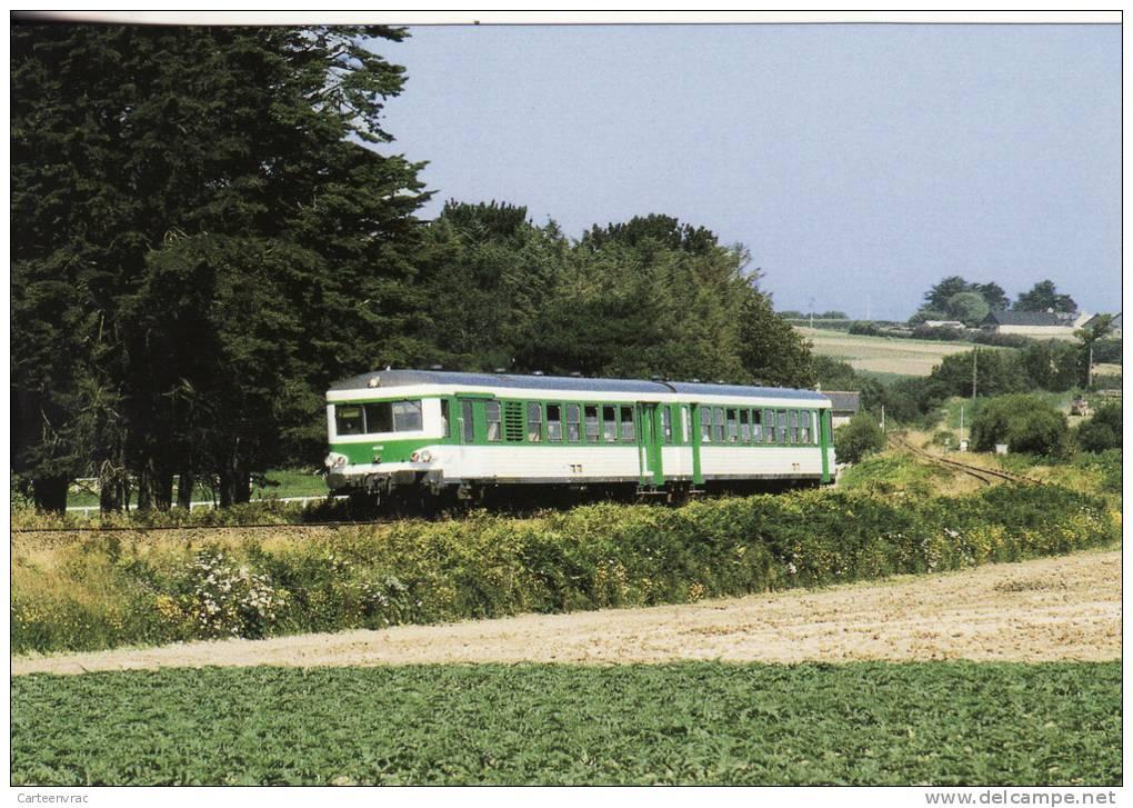 CF 53 Train, Locomotive, Autorail X 4595 Roscoff Traversée Champ D'artichauts Après ST POL De Léon - Saint-Pol-de-Léon