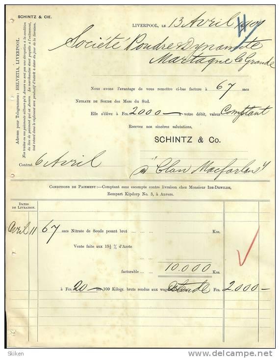 LIVERPOOL   SCHINTZ & CO     Nitrate De Soude Des Mers Du SUD  13.04.1901 - Royaume-Uni