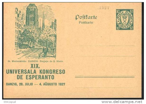 1927 Danzica Danzig ST Marienkirche  Postal Stationery Postcarte Esperanto Trés Beau Very Fine - Esperanto