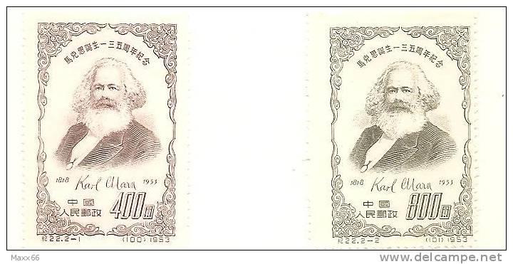 CINA - CHINA - SERIE COMPLETA MLH - 1953 - PERSONALITA´ - Karl Marx -  CN 208 / 209 - Ungebraucht
