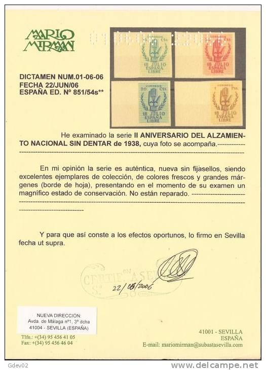 ES851-L2143TVF.España.Spain  Espagne. ANIVERSARIO ALZAMIENTO (Ed 851/4s**).CERTIFICADO..LU JO - Viñetas De Fantasía