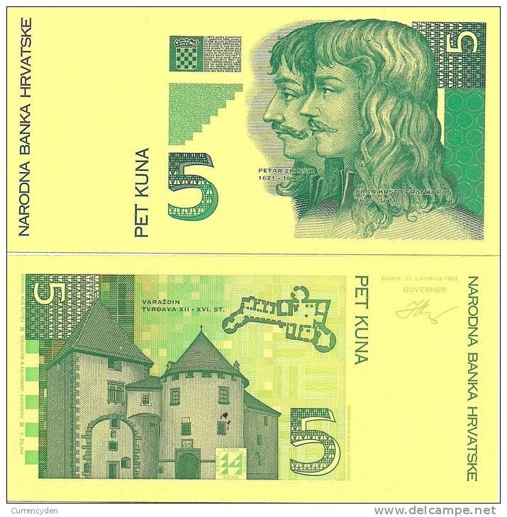 Croatia P28, 5 Kuna,, 1993, Color Trial - 2 Piece - Croatia