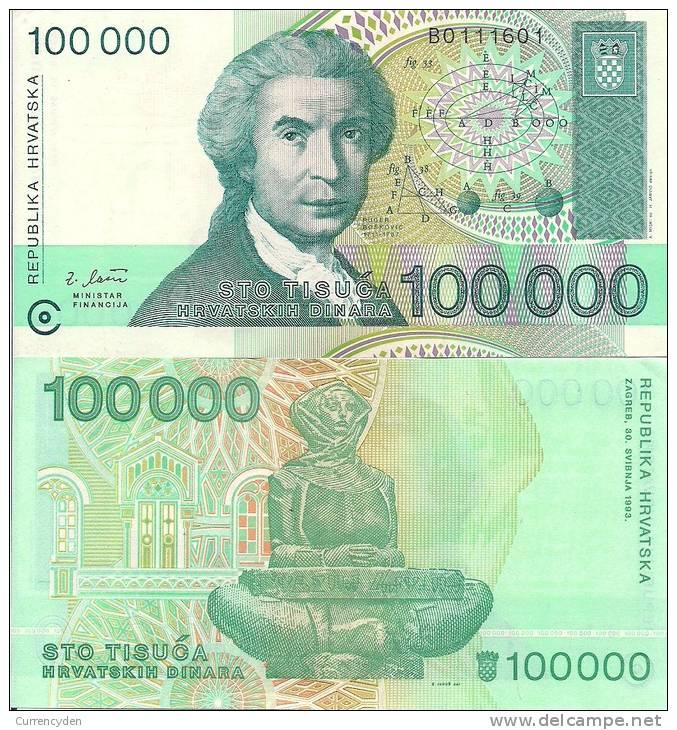 Croatia P27a, 100,000 Dinar,astronomer Ruđer Bošković / History Of Croatia $5CV! - Croatia