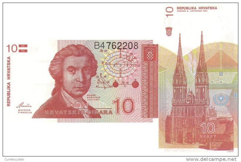 Croatia P18a, 10 Dinar, Geometric Calculations - Croatia