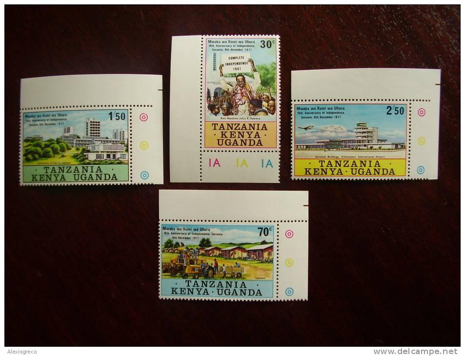 KUT 1971 10th.Anniv Of TANZANIAN INDEPENDENCE Issue 4 Values To 2/50 MNH. - Kenya, Uganda & Tanganyika