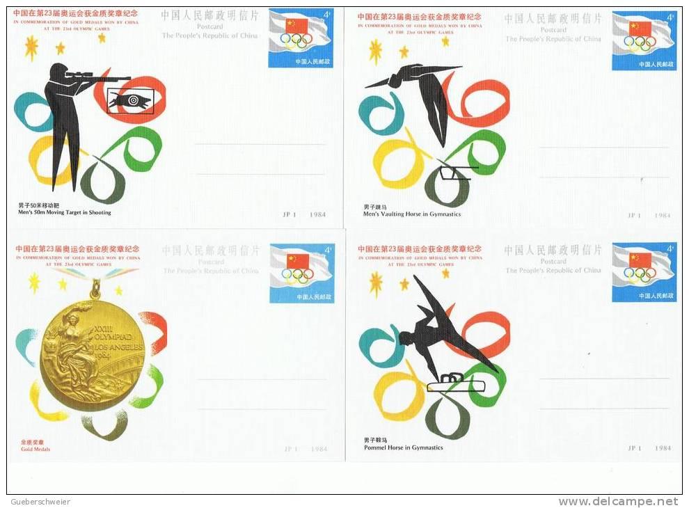 JO84-E/L - CHINE Série De 14 Entiers Postaux - Médailles Olympiques Obtenues Aux Jeux De Los Angeles - Postcards