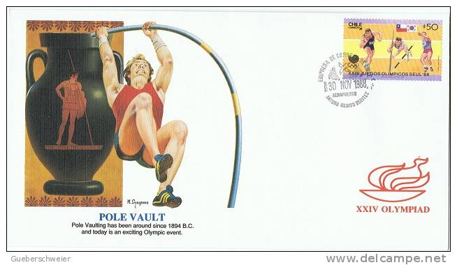 JO 177 - CHILI FDC ATHLETISME Saut à La Perche - Jeux Olympiques 1988 Séoul - Chili