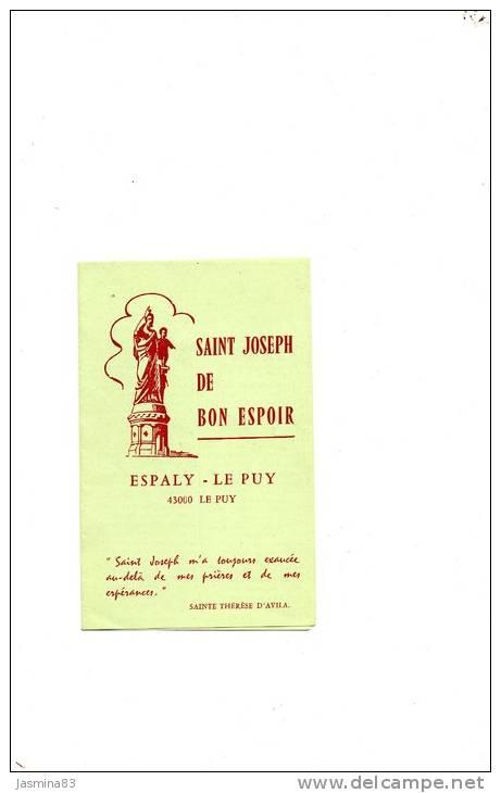 Saint Joseph De Bon Espoir     Espaly - Le Puy - Images Religieuses